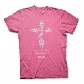 Glitter Cross Breast Cancer Awareness T-Shirt