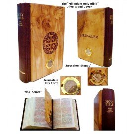 Olive Wood Holy Bible with Jerusalem Stones & Holy Earth